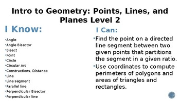 Intro to Geometry Points, Lines, and Planes, Learning Goals and Scales
