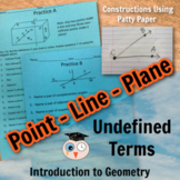 Intro to Geometry: Undefined Terms - Distance Learning Ver
