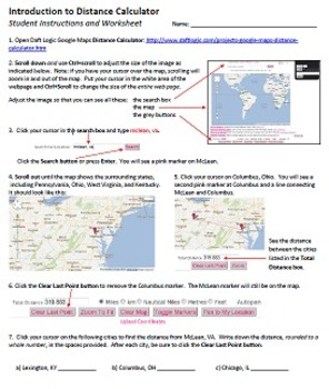 Intro to Google Maps Distance Calculator Technology Lesson