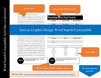 Intro to Graphic Design Word Search/Unscramble Activity