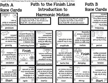 Intro to Harmonic Motion- Domino Path Matching-BW Path to Finish Line