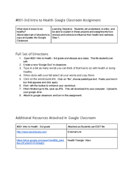 Intro to Health Google Classroom Assignment