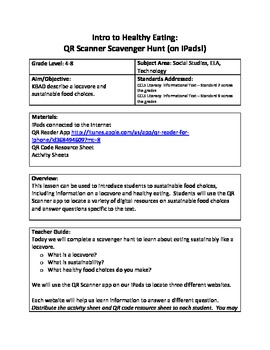 Intro to Healthy Eating:  QR Scanner Scavenger Hunt (on iPads!)