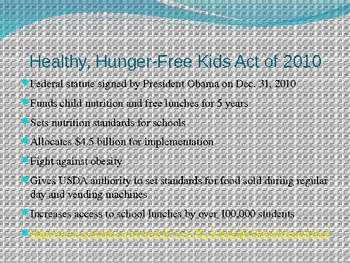 Intro to Healthy Kids Act of 2010