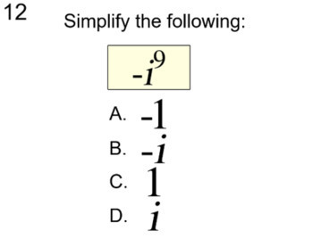 Intro to Imaginary Numbers - 9 Assignments and an Introduction for PDF