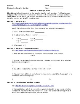 Intro to Imaginary Numbers: Internet Scavenger Hunt