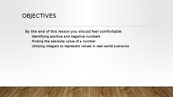 Intro to Integers PowerPoint
