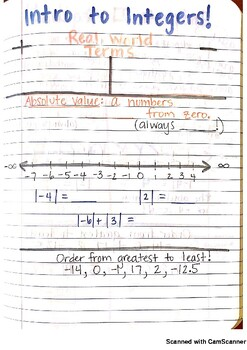 Intro to Integers Journal Notes PDF