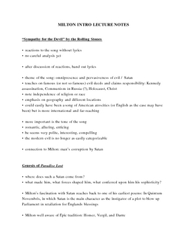 Intro to John Milton & Paradise Lost Lecture Notes