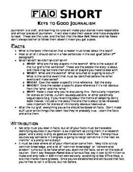 Intro to Journalistic Writing: FAO Short