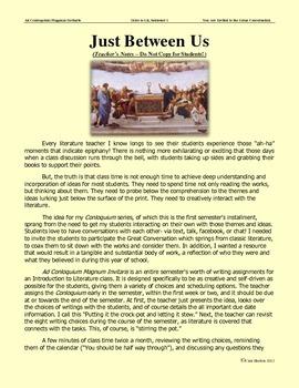 Intro to Lit - A Student Writing Project  - Ad Conloqium Magnum Invitaris