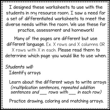 Introduction to MULTIPLICATION with ARRAYS! 26 {differentiated} printables