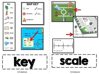Intro to Maps Kindergarten Vocabulary Cards