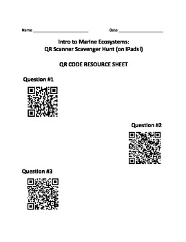 Intro to Marine Ecosystems: QR Scanner Scavenger Hunt (on iPads!)