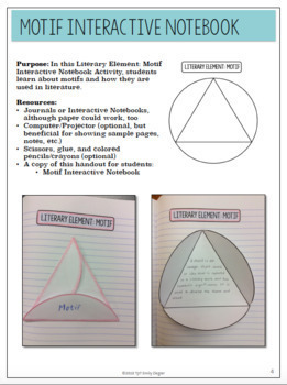 """Motif Interactive Notebook and bonus """"Motif in 'The Monkey's Paw'"""" Lesson Plan"""