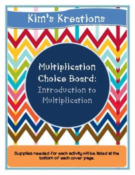 Introduction to Multiplication Choice Board (activities not included)