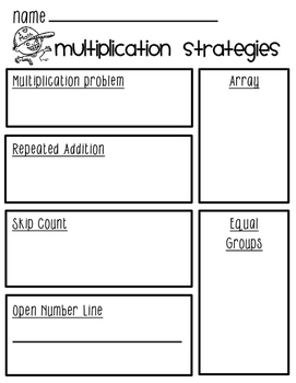 Multiplication Strategies-Worksheet-Flipbook-Visuals-Times Table with Guides