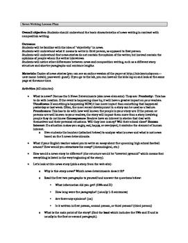 Intro to News Writing Lesson plan
