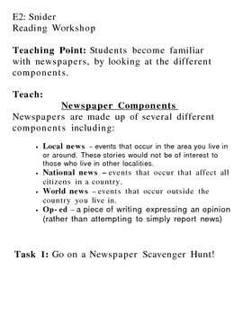 Intro to Non-Fiction: Newspaper Scavenger Hunt