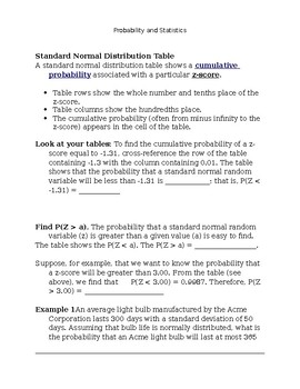 Intro to Normal Distribution: Guided Notes