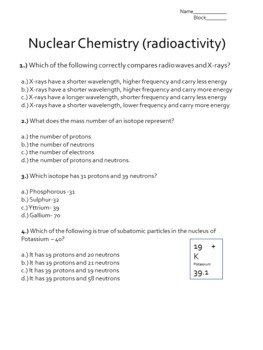 Intro to Nuclear Chemistry: Assessment