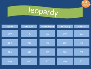 Intro to Number Systems Jeopardy