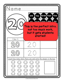 Intro to Numbers Worksheets 0 to 20