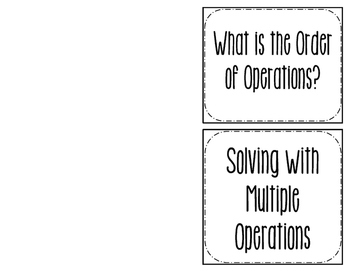 Intro to Order of Operations Foldable