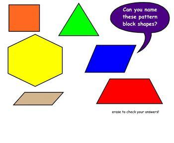 Intro to Pattern Block Shapes Math SmartBoard Lesson Primary Grades
