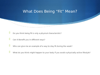 Intro to Physical Fitness