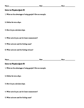 Intro to Physics Quiz #3