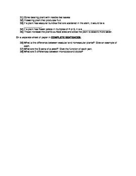 Intro to Plants Test (6th grade SC)