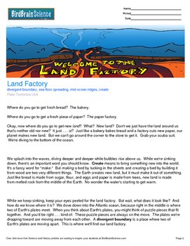 Intro to Plate Tectonics, Land Factory - Engaging Science Reading