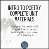 Intro to Poetry Complete Unit - AP Lit & Advanced Poetry