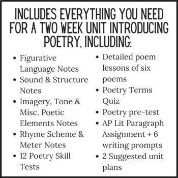 Intro to Poetry Complete Unit - Unit 2 (Poetry I)