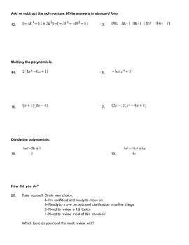 Intro to Polynomial Quiz/Check in