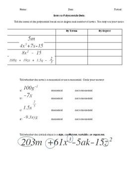 Intro to Polynomials Quiz