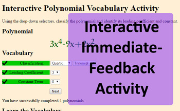 Intro to Polynomials Vocab with Handout, Interactive Online Activity, and Quiz