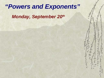 Intro to Powers and Exponents