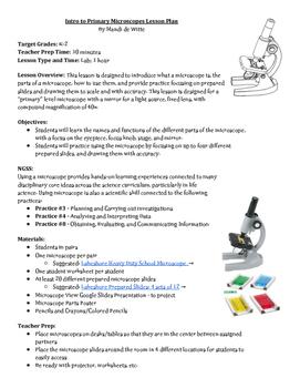 Intro to Primary Microscopes Lesson Plan