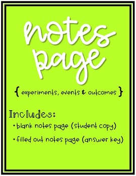 Intro to Probability Doodle Notes - Identifying Experiments, Events & Outcomes