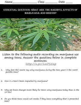 Intro to Psych: Harmful Effects of Marijuana and Heroin