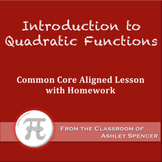Introduction to Quadratic Functions (Lesson Plan with Homework)