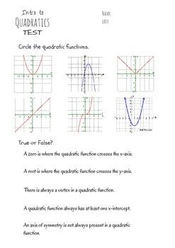 Intro to Quadratics Assessment
