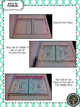 Intro to Radicals (Square Roots) Interactive Notebook Page