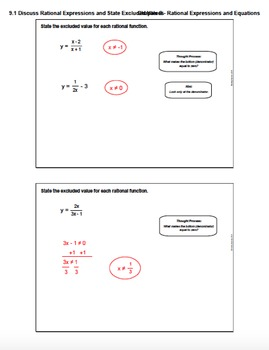 Introduction to Rational Expressions and Excluded Values (Lesson and Homework)