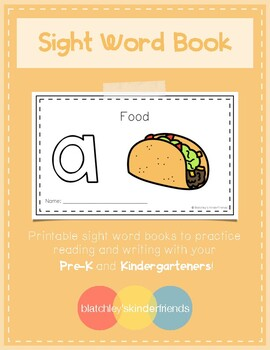Intro to Reading Sight Word Books - A (Food)