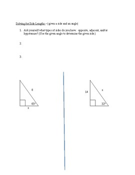 Intro to Right Triangle Trigonometry - Guided Notes