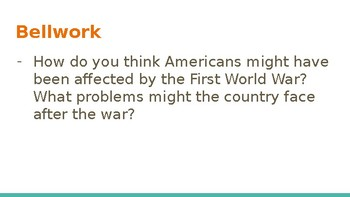 "Intro to ""Roaring Twneties"" Life After WWI Powerpoint w/Guided Notes Worksheet"