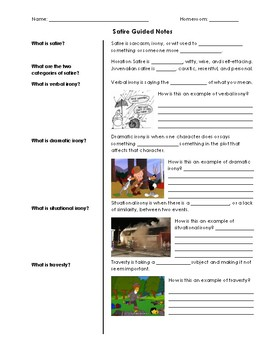 Intro to Satire Guided Notes in Cornell Notes Format & PowerPoint